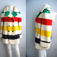 The Canadian Icon - Vintage 60s HUDSON BAY Blanket Coat Jacket with Hood
