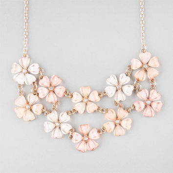 Full Tilt 2 Row Flower Statement Necklace Pink One Size For Women 23230535001