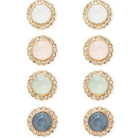 Rhinestoned Button Earring Set