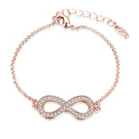 Infinity Pendant Bracelet with Swarovski Elements in 14K Rose Gold