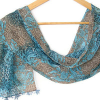 summer fashion,chiffon scarf,woman scarves,blue and brown,unique,gift ideas,soft,fashion accessories,woman fashion,summer trends,turkish