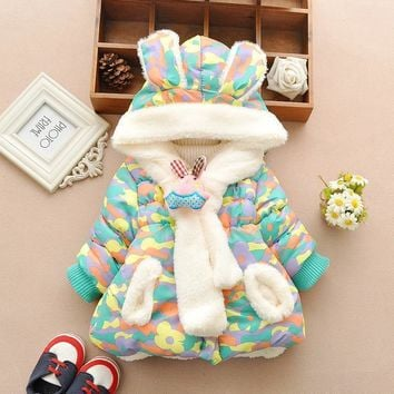 Cute Rabbit Baby Winter Jacket Thick Cotton-Padded Baby Girl Outerwear Infant Baby Boys Parka Toddler Girls Snow Wear Baby Coat