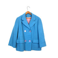 60s Pea Coat Blue Mod Cropped Peacoat Double Breasted Modern Swing Coat 1960s Preppy Collared Prep School Vintage Womens Small Medium