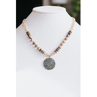 Crystal & Wood Bead Pave Circle Necklace