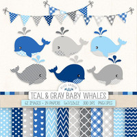 Blue Baby Whale Clip Art. Baby Boy Shower Digital Paper & Banners in Navy, Gray, Blue. Nursery Chevron, Polka Dot, Nautical, Whale Clipart