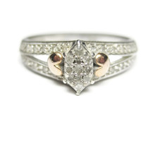 Sterling and 10K Diamond Cluster Heart Ring Size 7