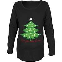 Christmas Gift Under Tree Black Maternity Soft Long Sleeve T-Shirt