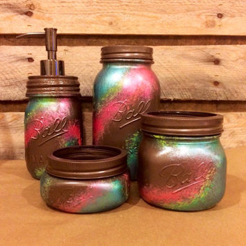 Office Mason Jar Set, Bronze, Coral and Teal Desk Set, Rustic Office Decor, Pen and Pencil Holder, mason jar bathroom set, housewarming gift