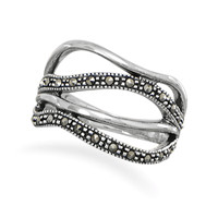 Open Band Design Marcasite Ring
