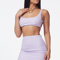 Lilac Two Piece Skirt Set