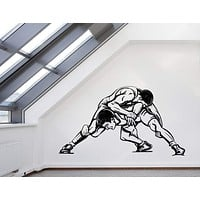 Wall Vinyl Decal Fight Wrestling Twin Combat Sports Interior Decor Unique Gift z4584