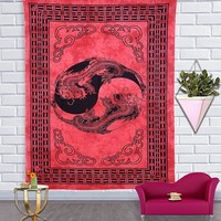 Red Chinese Dragon Bohemian Fabric Tapestry