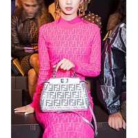 FENDI Fashion Women Sexy F Letter Jacquard Long Sleeve High Waist Dress