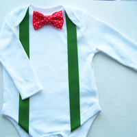 Christmas Baby Boy Outfit, Bow Tie and Suspenders Onesuit, Longsleeve Bow Tie Onesuit, Baby Boy Photo Prop, Christmas Onesuit, Baby Boy Clothes