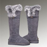 UGG Fox Fur Tall Boots 1852 Grey Popular