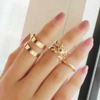 Leaf, Double Strap and Circular Ring Set