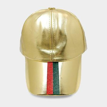 Crystal Embellished Color Block Leather Baseball Cap (Click For More Colors)
