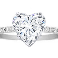 Engagement Ring - Heart Shape White Gold Diamond Engagement Ring Pave Band - ES1035HSWG
