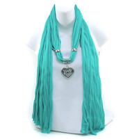 Women's Necklace Style Fashion Scarf w/ Rhinestone Embellished Heart Charm - Turquoise Color: Turquoise