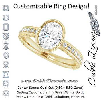 Cubic Zirconia Engagement Ring- The Araceli (Customizable Bezel-set Oval Cut Design with Cloud-pattern Band & Semi-Eternity Accents)