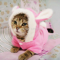 2016 New Cute Pet Cat Clothes Easter Bunny Costume Cat Dog Hoodie Coat Fleece Warm Rabbit Dressing Up Outfit Clothing for Cats 4