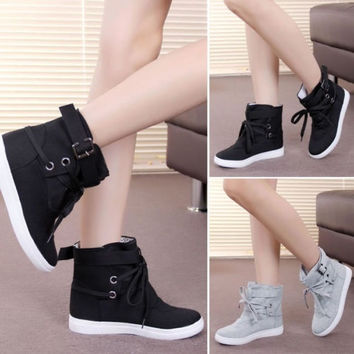 Fashion Women Lady Lace Up Sneakers Buckle Strap Hiking Flats Ankle Boots High Top Canvas Sports Flats Shoes Winter Autumn = 1946976196