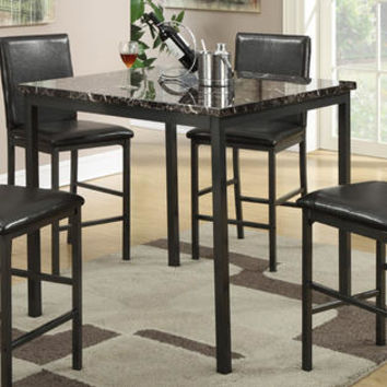... Faux Marble Top Square Counter Height Dining Table with Metal Legs