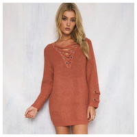 """Style and Flare"" V Neck Lace Up Rust Sweater"