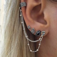 4 Pcs/set Fashion Personality Bohemia Style Gem Ear Clip And Earrings 171120