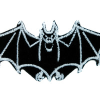 White Vampire Bat Patch Iron on Applique Alternative Clothing DIY Dracula