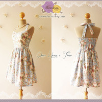 Blue Floral Party Dress Romantic Dress Party Tea Dress Vintage Inspired Cotton Summer Dress Once Upon a Time Bustier-Size XS,S,M,L,XL,CUSTOM