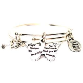 BANGLE SET BUTTERFLY WHISPER I LOVE YOU TO A BUTTERFLY IT WILL FLY TO HEAVEN AND DELIVER YOUR MESSAGE BRACELETS