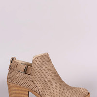 Qupid Distress Nubuck Perforated Ankle Booties
