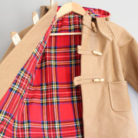 Toddler Duffel Coat Fisherman Coat Plaid Lining Hooded Wool Parka Toggle Coat Vintage Size 4 to 5 years old # C068A