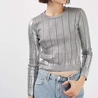 Foil Pointelle Crop Knitted Top   Topshop