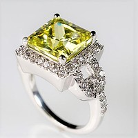 Kara Canary Yellow Princess Cut Halo Cocktail Ring | 7ct