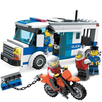 204Pcs Children Educational Blocks Toys City Police car Blocks Toys Assembled Building DIY Toys for Kids compatible with blocks