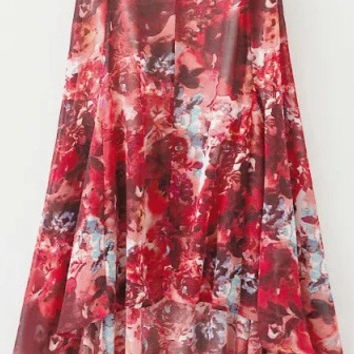 Red Floral Print Chiffon Skirt