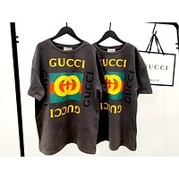 GUCCI simple men and women models printed letters loose half-sleeved T-shirt