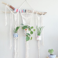 3 Plant Macrame Hanging Planter- Wall Accent- Bohemian Decor- Dorm Decor~ Modern Macrame- White Wall Accent- BohoChic Home Decor- Plants