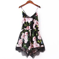 Newly Design Women Flower Lace Chiffon Bodycon Jumpsuit Party Playsuit Romper 160527 Drop Shipping