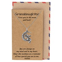 Mari Gifts for Her Moon Necklace, Granddaughter Jewelry with Greeting Card