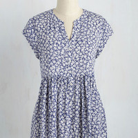 Eccentric Collector Top in Indigo - Cap Sleeves | Mod Retro Vintage Short Sleeve Shirts | ModCloth.com