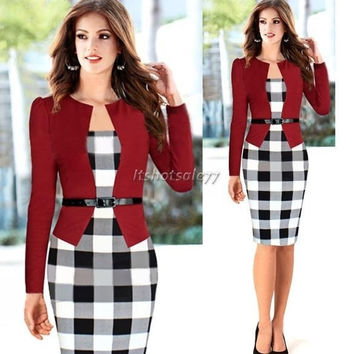 2014 Women Autumn Elegant Belted Tartan Patchwork Faux Tow Pcs Tunic Work Business Casual Party Bodycon Pencil Midi Office Dress = 1931449924
