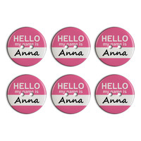 Anna Hello My Name Is Plastic Resin Button Set of 6