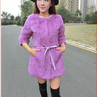 Winter fashion Rex Rabbit fur thicken coat long dress cost outer clothing SCE142