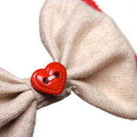 """Red Hair Bow, Linen Red Lace Bow for Hair, Vintage Heart Button Bow, Small Girly Bow, Girl's Bow, Women's Hair Bow - """"Offer Me Your Heart"""""""
