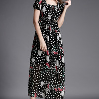 Polka Print Square Neck Short Sleeve High Waist A-Line Maxi Dress