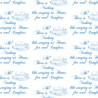 Austen Teacup at Home, Blue fabric - 13moons_design - Spoonflower