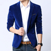 Mens blazer slim fit suits jacket black navy blue velvet spring autumn outwear coat Free shipping